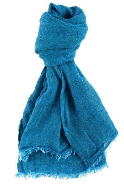 Jaskrawy niebieski lniany szalik.