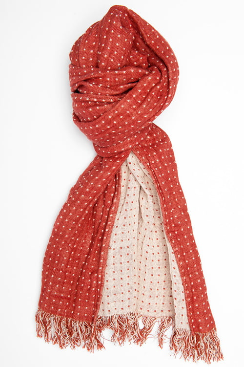 Czerwono - biały lniany dwustronny szalik.