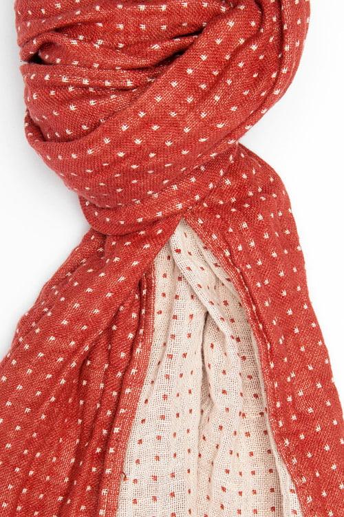 Czerwono-biały szalik lniany