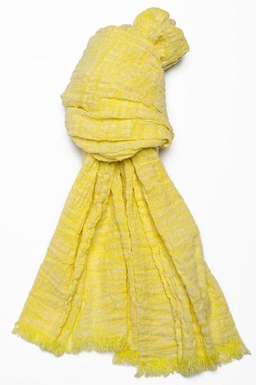 Żółty szalik lniano - bawełniany