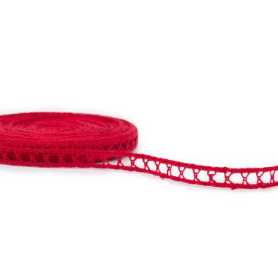 Wąska czerwona lniana koronka Nr. 62