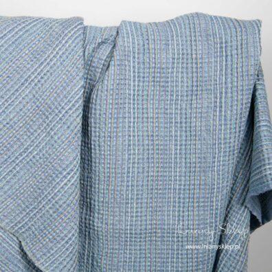 Lniano - bawełniana tkanina prana niebieska splot waflowy.