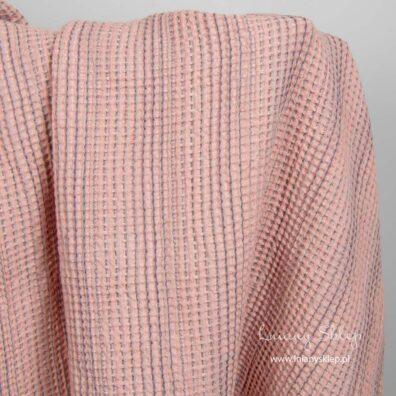 Lniano - bawełniana tkanina prana różowa splot waflowy.