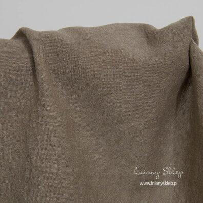 Szeroka, prana tkanina lniano – bawełniana szary brąz.