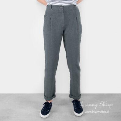 Lniane szare spodnie.