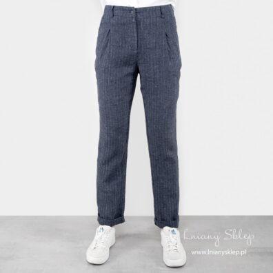 Granatowe lniane spodnie. Zaszewki z przodu.