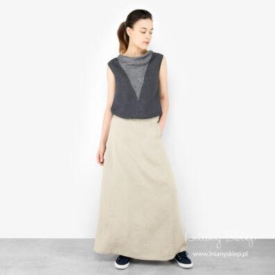 Lniana maxi spódnica piaskowa z kieszeniami.