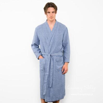 Lniany szlafrok męski niebieski w paski.