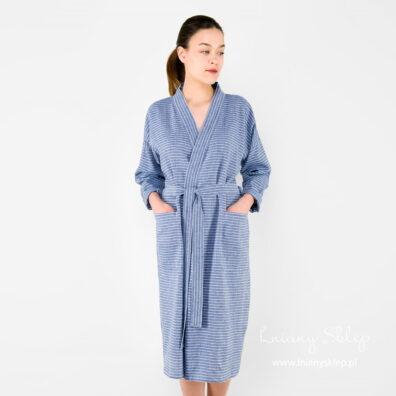 Lniany damski szlafrok w paski niebieskie.