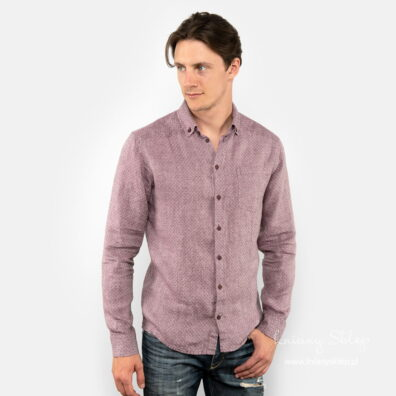 Lniana fioletowa koszula męska.