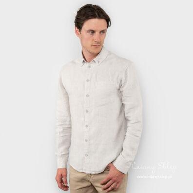 Lniana szara koszula męska w romby.