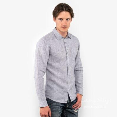 Lniana koszula męska w niebieskie paski.