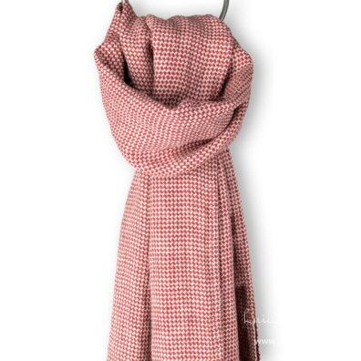 Lniany szalik szaro – czerwony deseń.