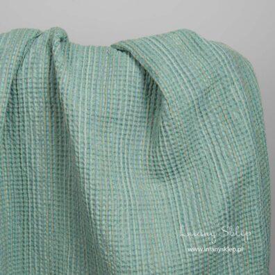 Lniano – bawełniana tkanina prana zielona splot waflowy.