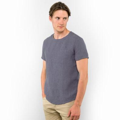 Lniana koszula męska niebieski melanż.