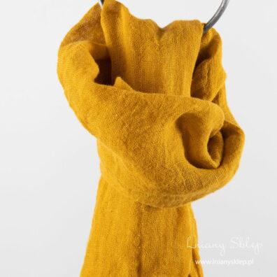 Żółty jaskrawy lniany szalik.