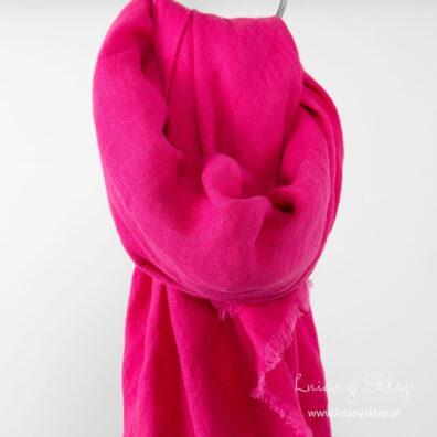 Jaskarawa różowa lniana chusta.