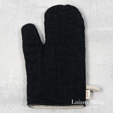 Czarna lniana rękawica kuchenna.