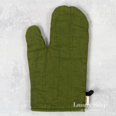 Zielona lniana rękawica kuchenna.