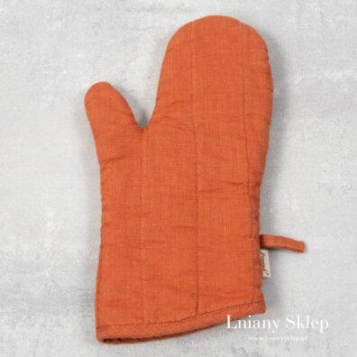 Pomarańczowa lniana rękawica kuchenna.