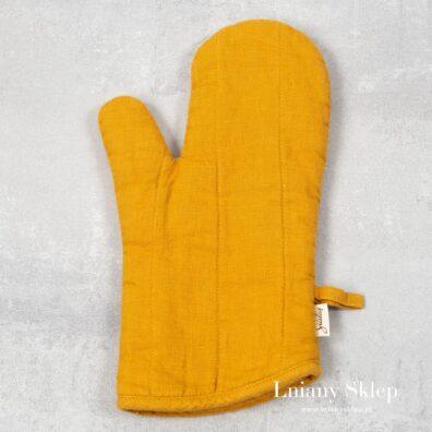 Słonecznikowa żółta lniana rękawica kuchenna.