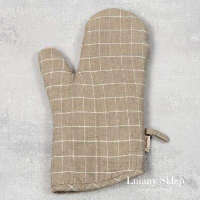 Lniana rękawica kuchenna szara w kratkę.