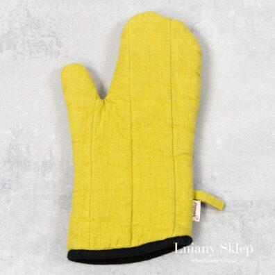 Cytrynowa żółta lniana rękawica kuchenna.