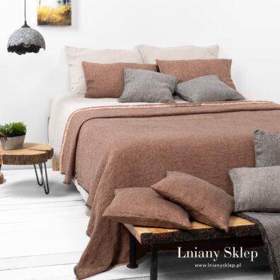 LEILA brązowa narzuta na łóżko.