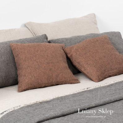 LEILA brązowa poszewka na poduszkę.