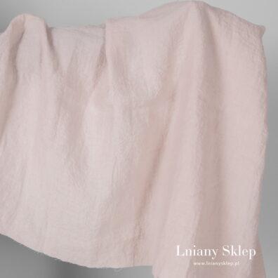 Szeroki prany różowy jasny len.