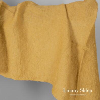 Żółty prany szeroki len.