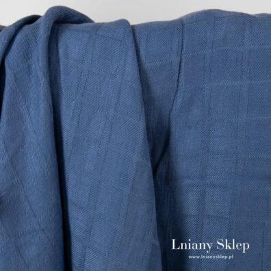 Niebieski w kratkę prany len z domieszką.