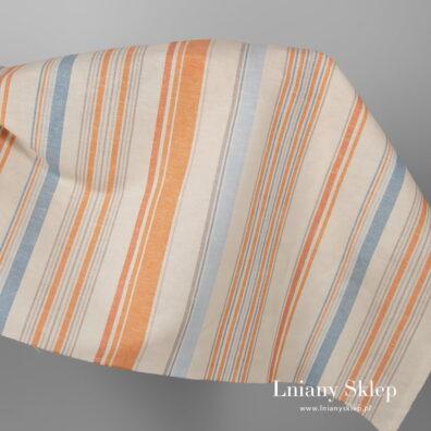 Szeroka tkanina w pomarańczowe paski.