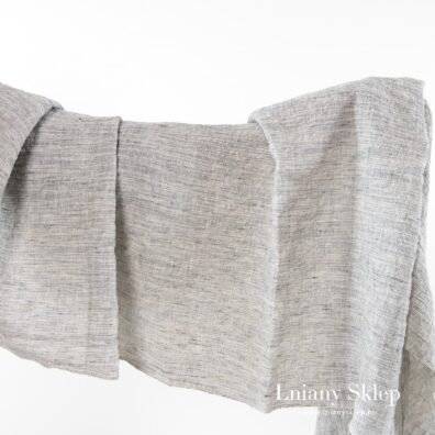 Szeroka szara prana tkanina len z bawełną.