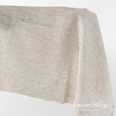 Szeroka piaskowa prana tkanina len z bawełną.