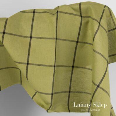 Zielona tkanina w cienką czarną kratkę.