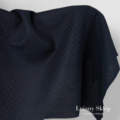 Lniana czarna tkanina wzór rombów.