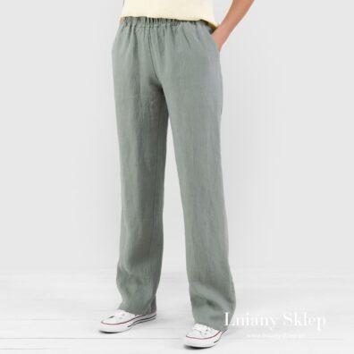 VERONA zielone spodnie lniane.