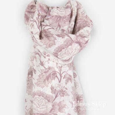 GARDENIA szalik w różowe kwia.ty