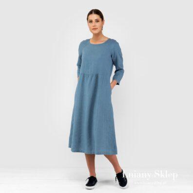 DELFINA błękitna sukienka lniana.