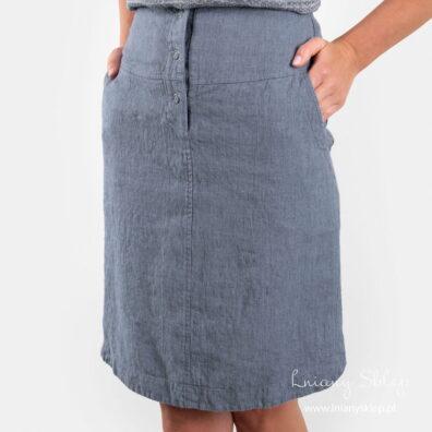 MINIS niebieska spódnica lniana.