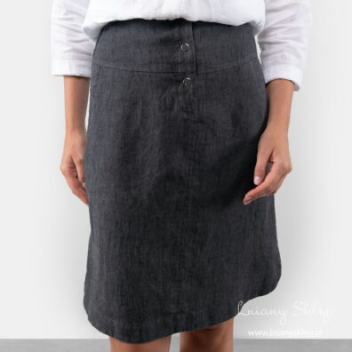 MINIS czarna spódnica lniana.