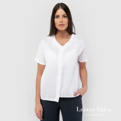 Asymetryczna biała bluzka lniana.