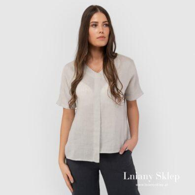 Szara asymetryczna lniana bluzka.