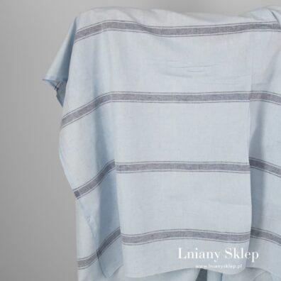 Tkanina niebieska w paski len z bawełną.
