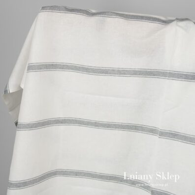 Tkanina biała w paski len z bawełną.