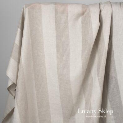 Tkanina szara w prześwitujące paski len z bawełną.