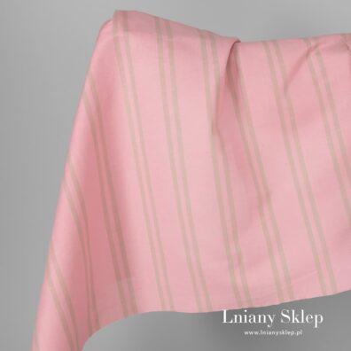 Tkanina różowa w piaskowe paski len z bawełną.