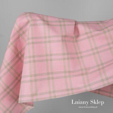 Tkanina różowa w piaskową kratkę len z bawełną.