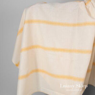 Tkanina żółtawa w piaskowe paski len z bawełną.